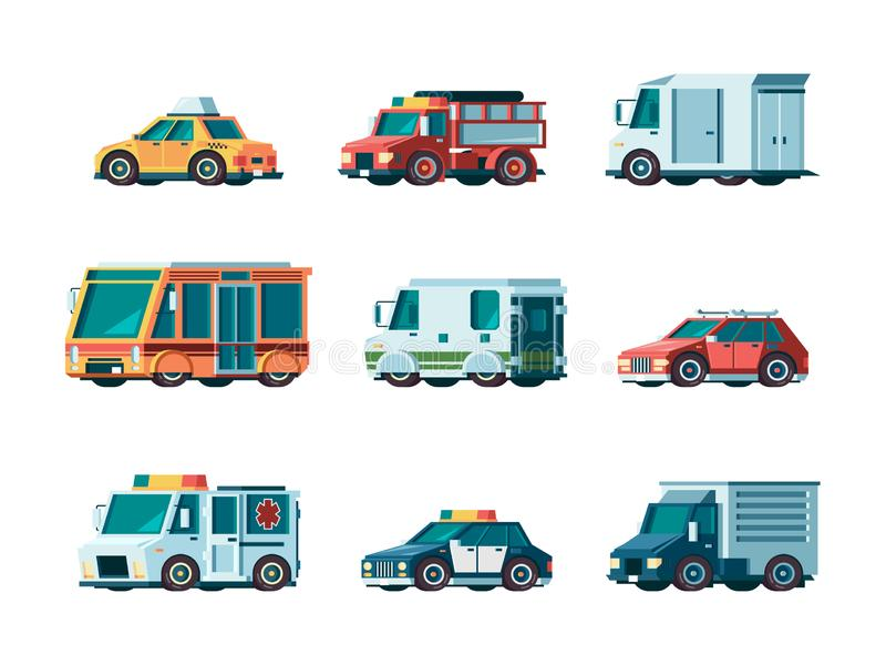 Plattformwagen Fahrzeugbrandkrankenwagenpolizeiposttaxi-LKW-Bus- und -kollektorautovektor des Stadtverkehrs städtischer stock abbildung