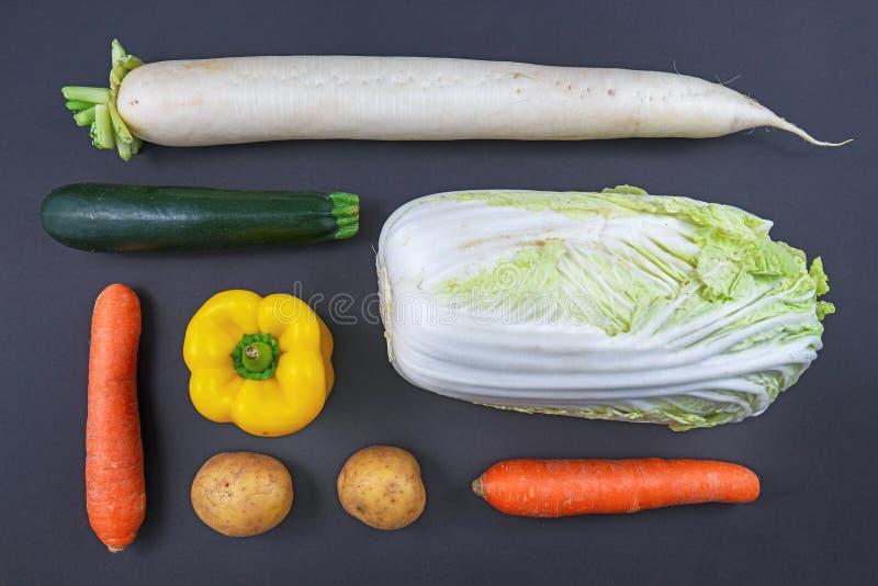 Plattläggning av olika typer av rågrönsaker, t.ex. morötter, klockpeppar, zucchini, rädisor, potatis och kinesisk kål. arkivfoton