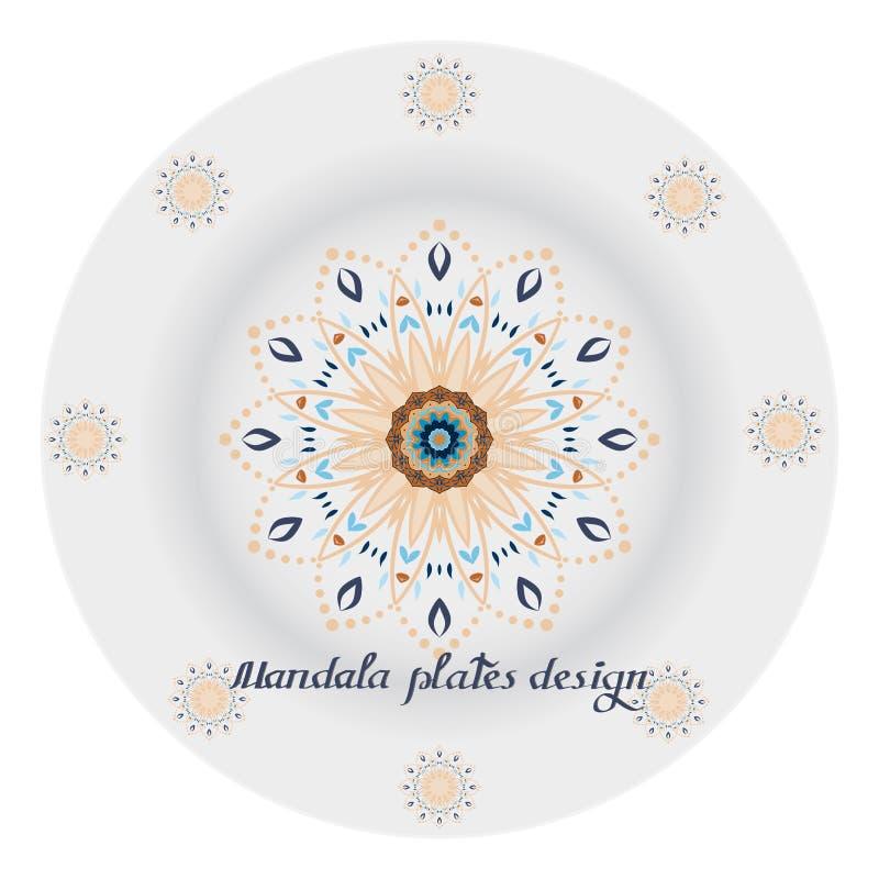 Plattor disk dekoreras av mandalaen dekorativa element stock illustrationer