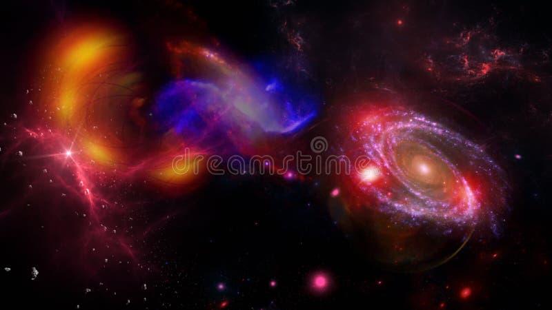 Plattor och galaxer, science fiction-bakgrundsmaterial Djuprymdens skönhet royaltyfria foton