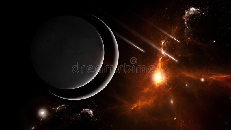Plattor och galaxer, science fiction-bakgrundsmaterial Djuprymdens skönhet arkivbild