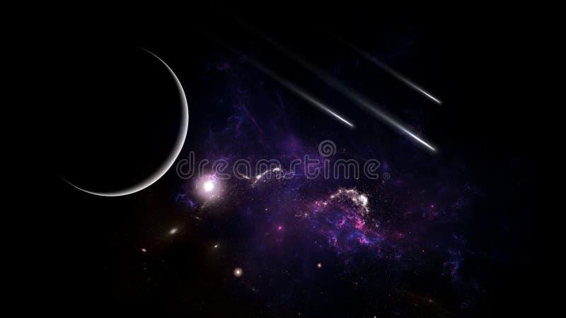 Plattor och galaxer, science fiction-bakgrundsmaterial Djuprymdens skönhet royaltyfri foto