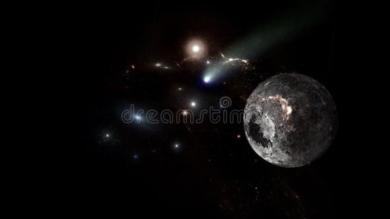 Plattor och galaxer, science fiction-bakgrundsmaterial Djuprymdens skönhet royaltyfri bild