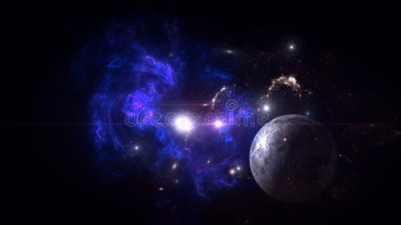 Plattor och galaxer, science fiction-bakgrundsmaterial Djuprymdens skönhet royaltyfria bilder