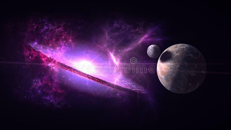 Plattor och galaxer, science fiction-bakgrundsmaterial Djuprymdens skönhet royaltyfri fotografi