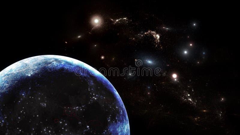 Plattor och galaxer, science fiction-bakgrundsmaterial Djuprymdens skönhet arkivbilder