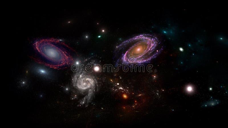 Plattor och galaxer, science fiction-bakgrundsmaterial Djuprymdens skönhet arkivfoton