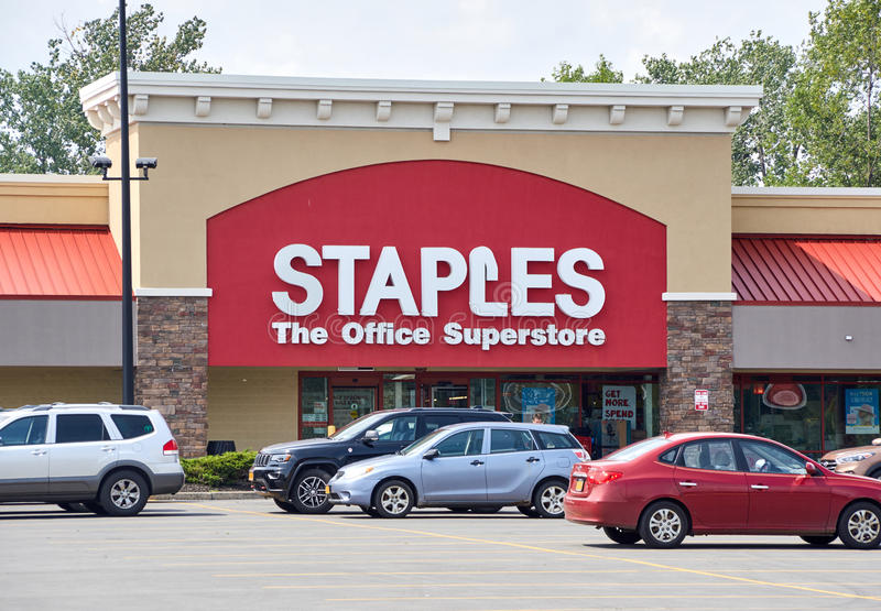 Staples store and logo. PLATTSBURGH, USA - AUGUST 23, 2017 : Staples store and logo. Staples, Inc. is an American multinational office supply retailing royalty free stock photos