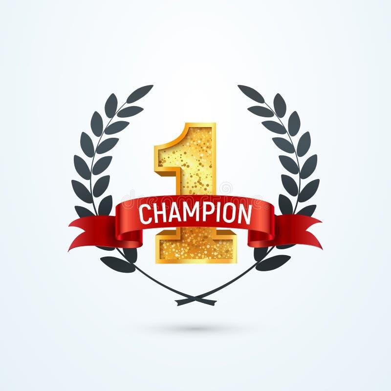 1 Platz Champion Award isoliertes Vektorsymbol Gewinner Nummer eins rotes Band und Kranz vektor abbildung