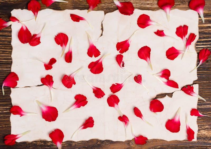 Platz für eine Aufschrift auf einem alten Papier bedeckt mit den Blumenblumenblättern stockbild