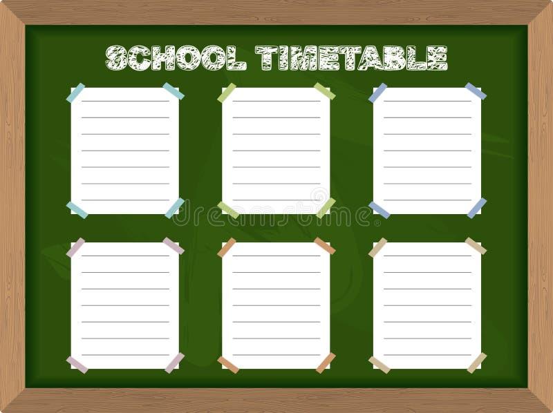 Platz für Ihren Text auf einem gelben Schulbus Schulzeitplanaufkleber auf Tafel Vektor stock abbildung