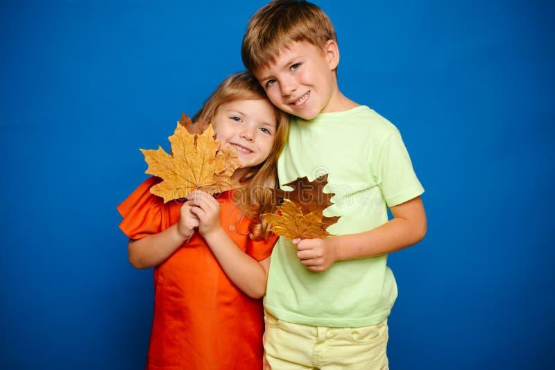 Platz für Ihren Text Glückliches Schätzchen Autumn Leaves Background Laubfallglückliche menschen und joyHello November Herbstklei stockfotografie