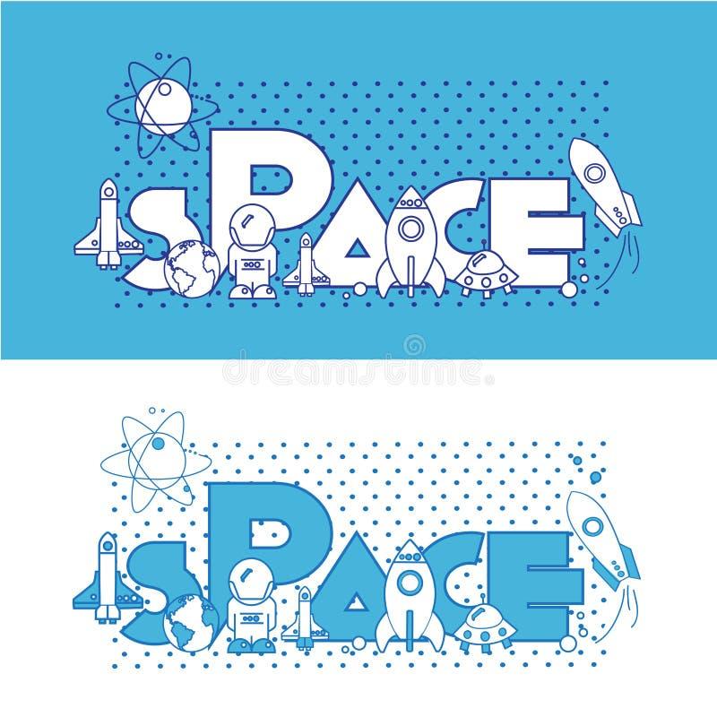 platz Flache Illustration mit typografischem stockfotografie
