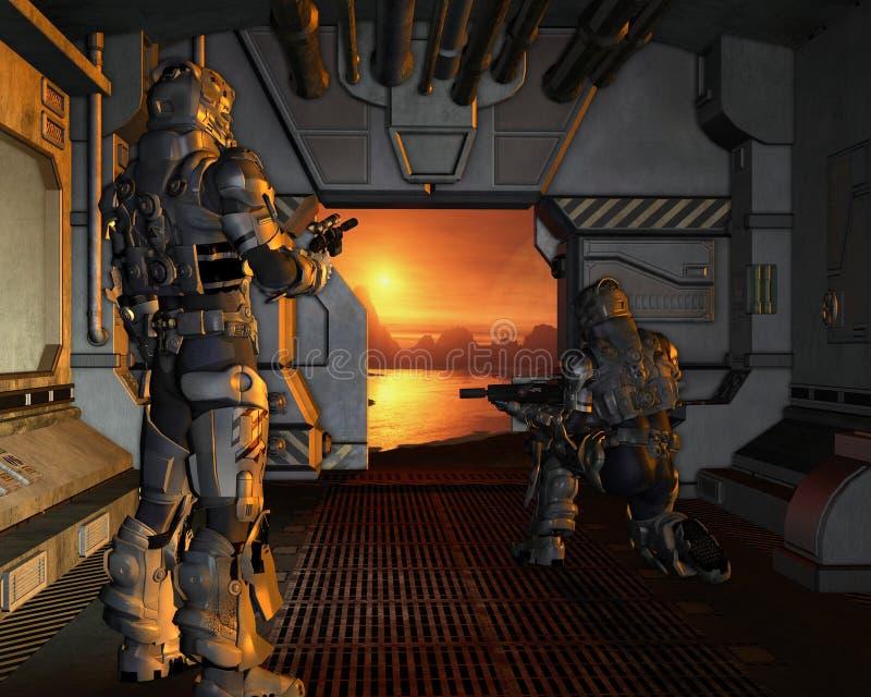 Platz-Marinen, die auf einem roten Planeten ankommen vektor abbildung