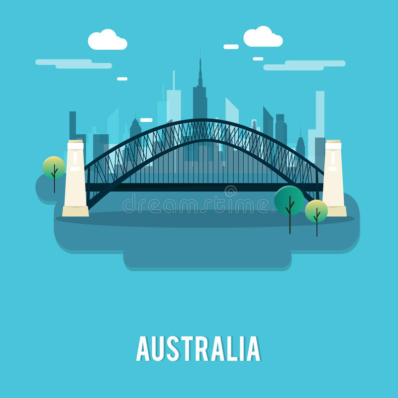 Platz Sydney Harbour Bridges bautiful Australien-Illustration desi lizenzfreie abbildung