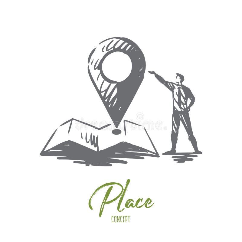 Platz, Zeichen, Standort, Stift, Kartenkonzept Hand gezeichneter lokalisierter Vektor lizenzfreie abbildung