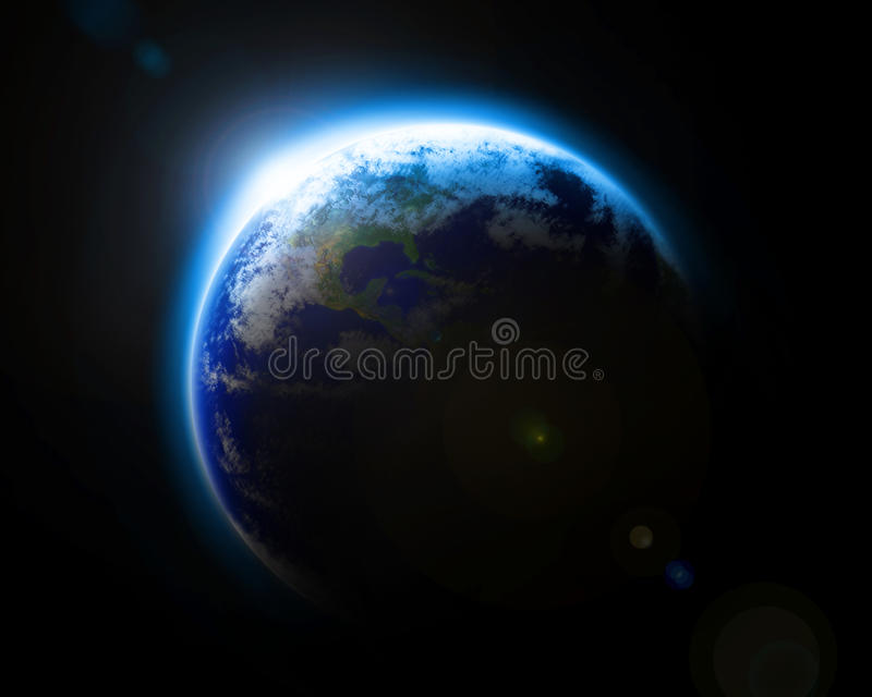 Platzansicht von Erde mit Sonneaufflackern lizenzfreie abbildung
