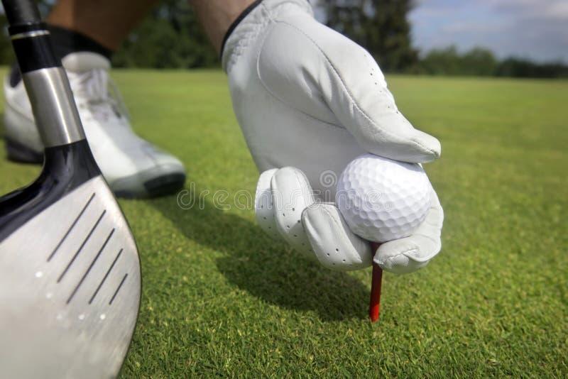 Platzieren des Golfballs auf ein T-Stück stockbilder