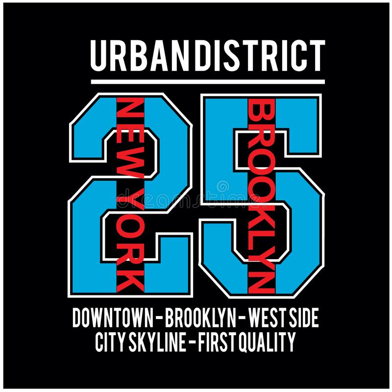 Platztypographie-T-Shirt Vektor New York Brooklyn berühmter vektor abbildung