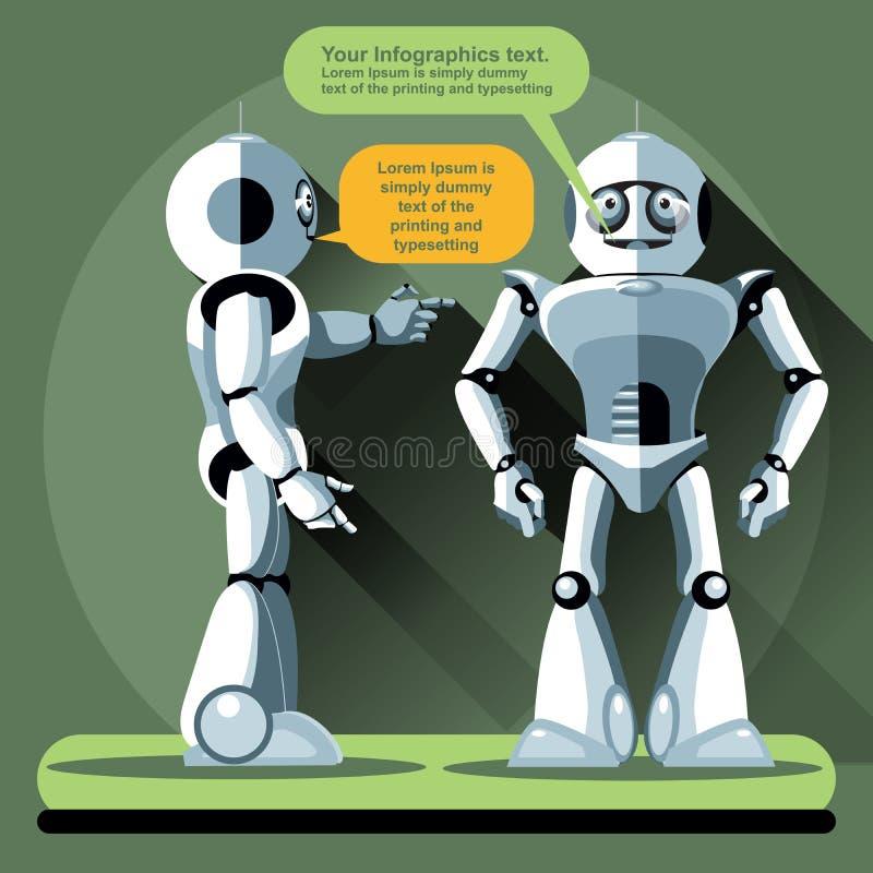 Plaudern mit zwei silbernes Humanoidrobotern lizenzfreie abbildung
