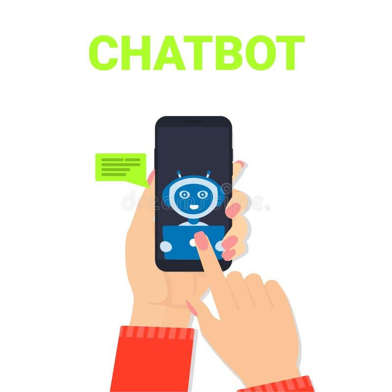 Plaudern Sie Botfrauenhandmobilen Roboter lizenzfreie abbildung