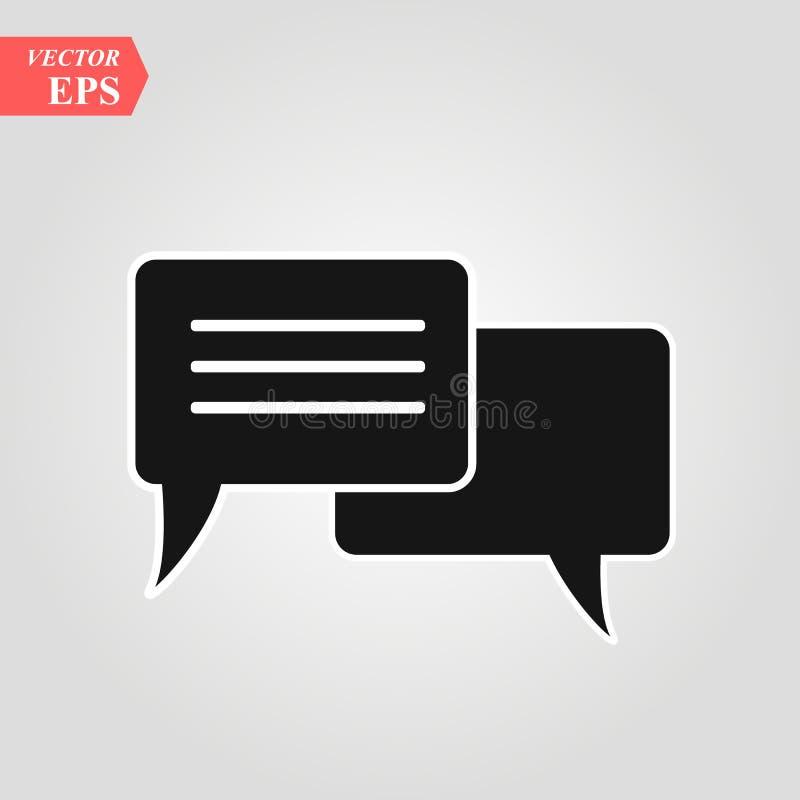 Plaudern Sie die Ikone in der modischen flachen Art lokalisiert auf grauem Hintergrund Spracheblasensymbol für Ihr Websitedesign, stock abbildung