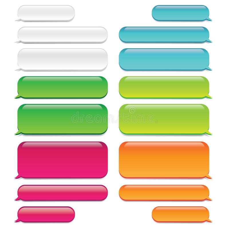 Plaudern Sie Glas ähnlichen Auftritt der Mitteilungs-Blasen w - SMS-Gespräch lizenzfreie abbildung