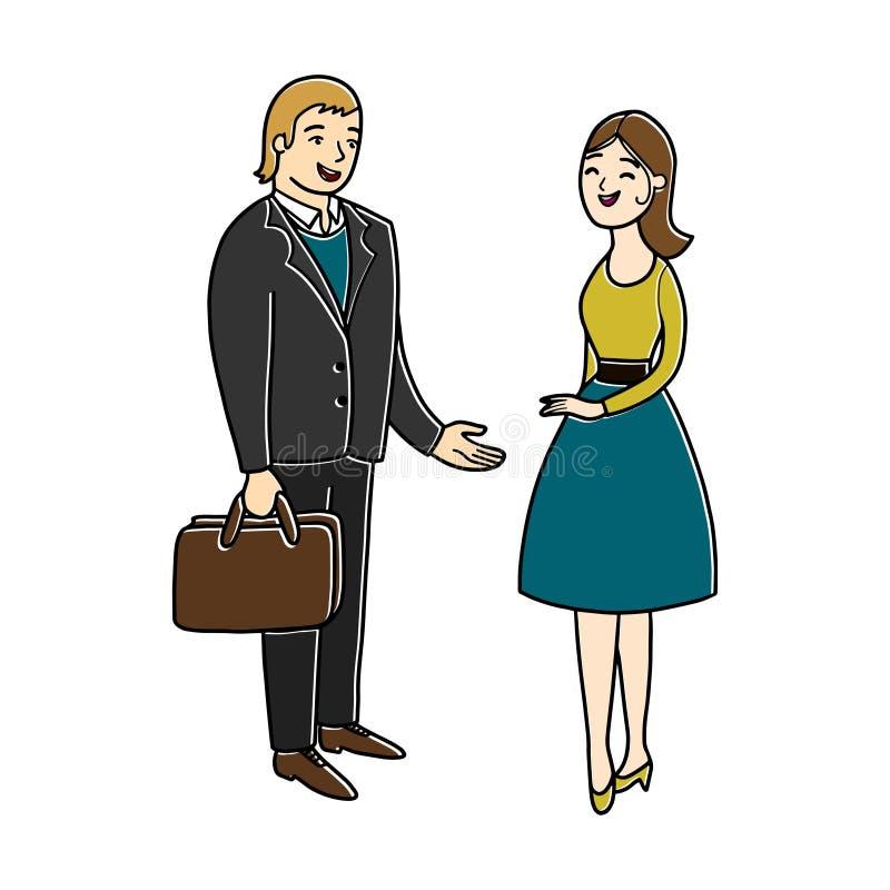 Plaudernde Leute Mann und Frau haben ein Gespräch Leichte Unterhaltung Bürogeschäftskonzept lizenzfreie abbildung