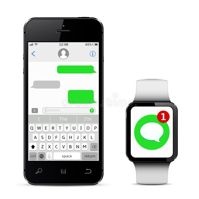 Plaudernund Mitteilungs-Konzept Intelligentes Telefon und intelligente Uhr mit Mitteilung sms APP Auch im corel abgehobenen Betra lizenzfreie stockfotos