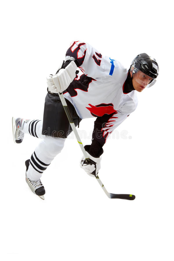 Play. Portrait of hockey player playing in game stock images