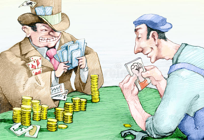 Play. A banker with many plays cards against a worker who holds only the card of protest vector illustration