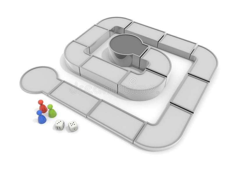 Play a board game. Competition with others. 3D illustration stock illustration