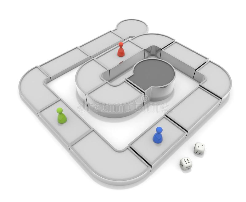 Play a board game. Competition with others. 3D illustration vector illustration