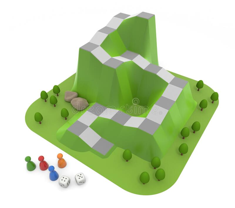 Play with board games. Play the game with 4 players. 3D illustration vector illustration