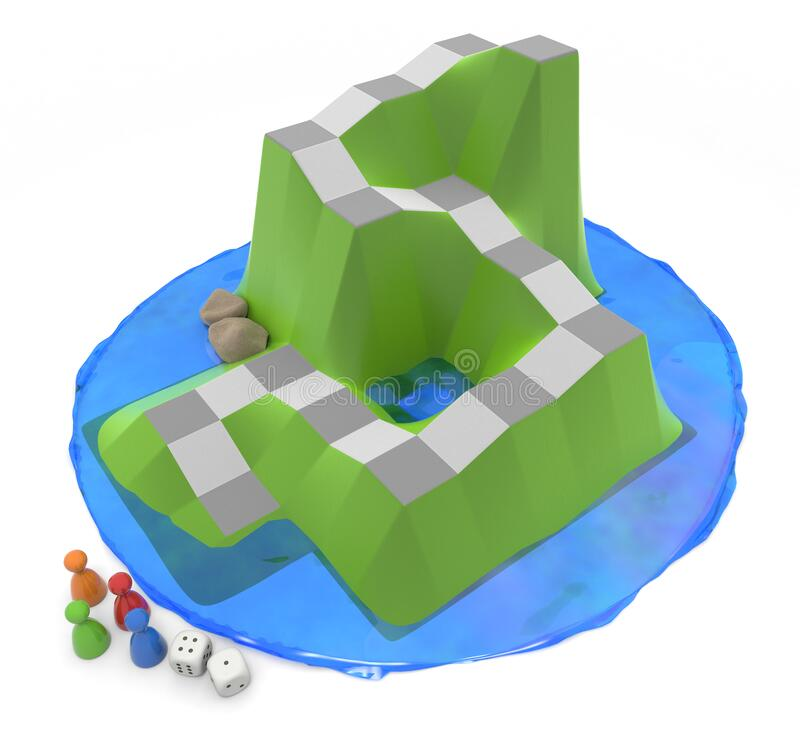 A board game surrounded by water. 4 pieces and 2 dice. 3D illustration stock illustration