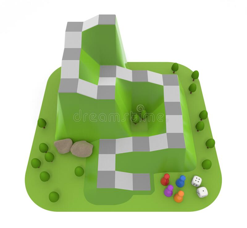 Board game inspired by mountains. A three-dimensional dice game. 3D illustration royalty free illustration
