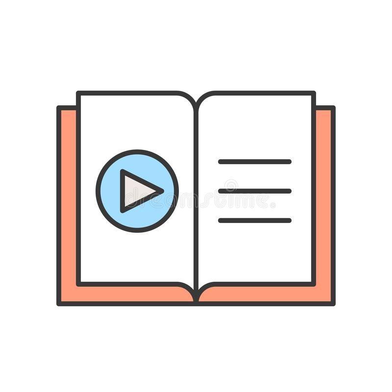 Play button on book, online education icon concept, editable stroke outline.  stock illustration
