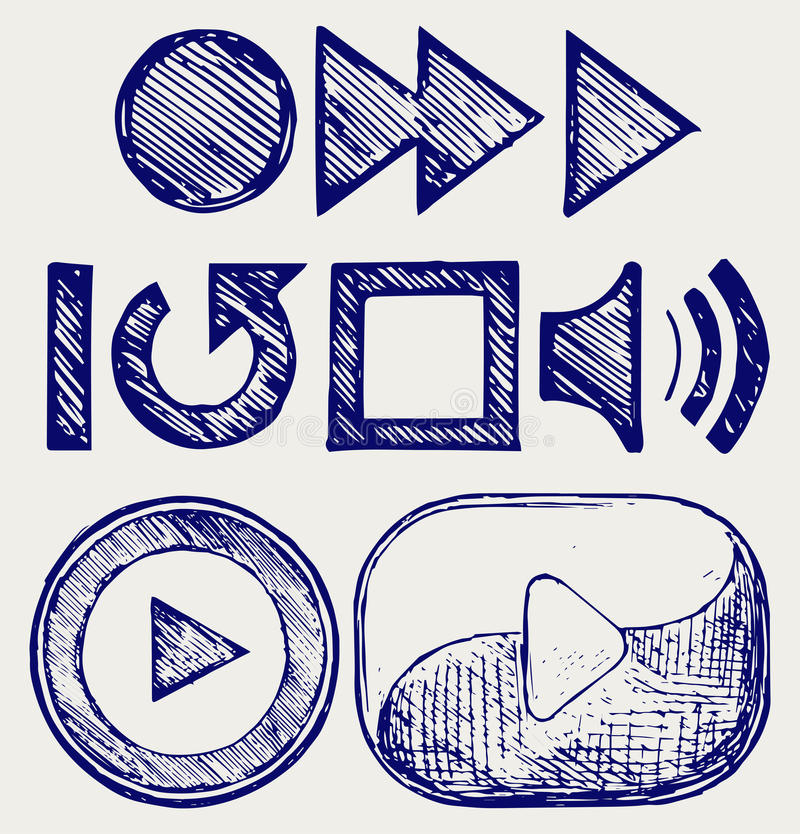 Play button. Doodle style. Vector EPS 8 stock illustration