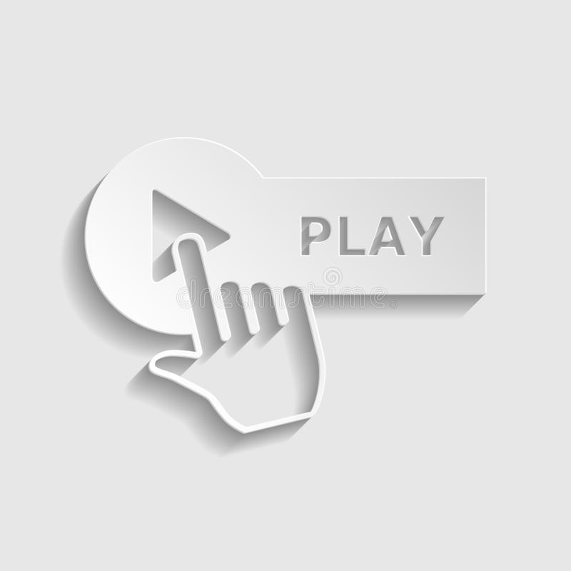 Play button with hand icon sign. Paper style icon. Illustration. stock photos