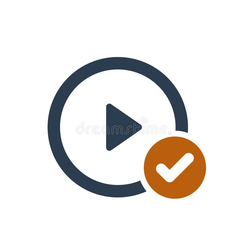 Play button icon with check sign. Play button icon and approved, confirm, done, tick, completed symbol. Vector icon stock illustration