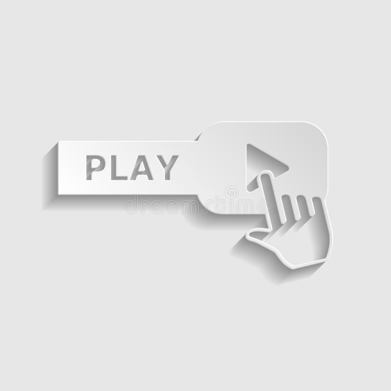 Play button icon with hand sign. Paper style icon. Illustration. stock image