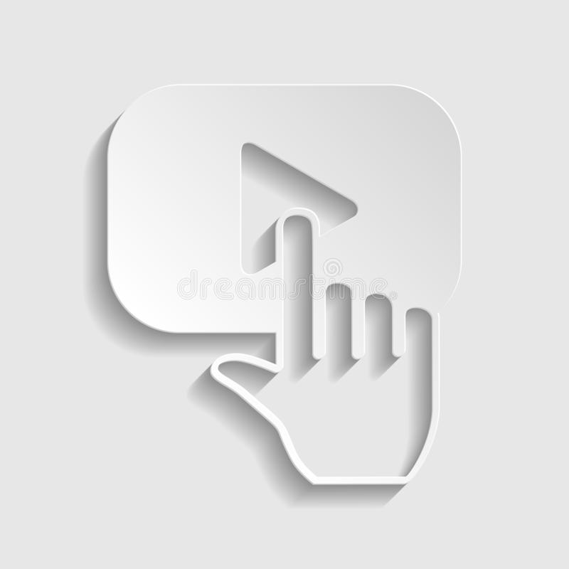 Play button icon with hand sign. Paper style icon. Illustration. stock images