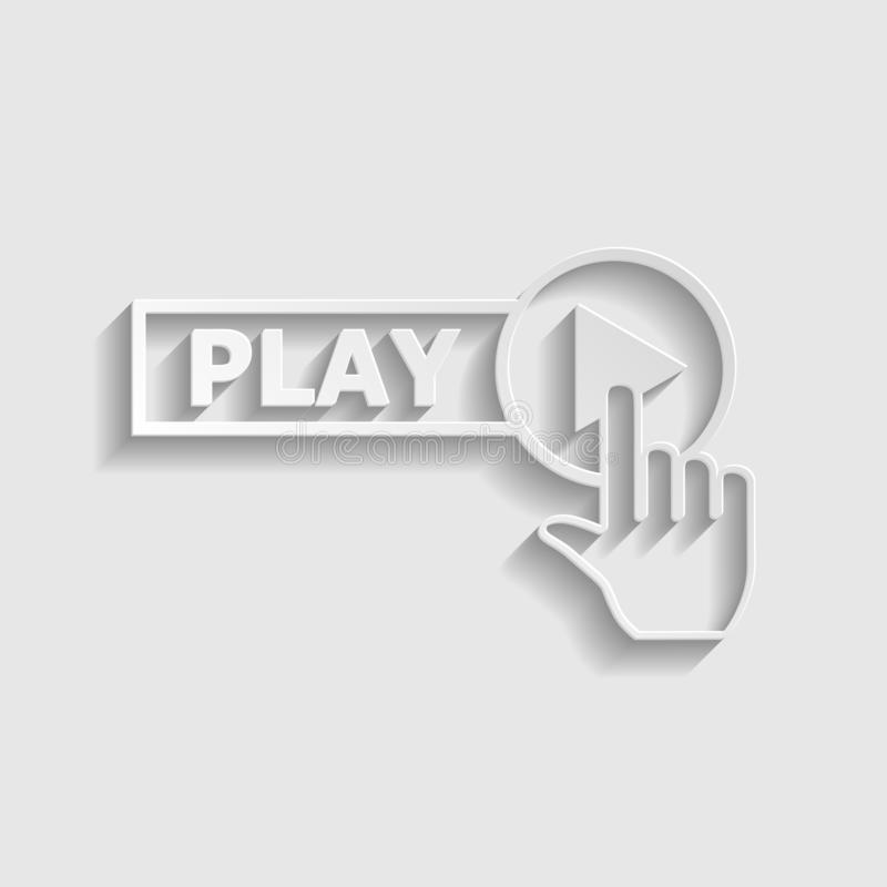 Play button icon with hand sign. Paper style icon. Illustration. stock photography