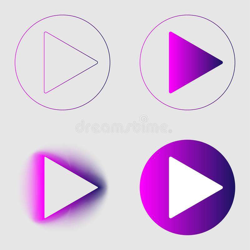 Play button sign colorful gradient thin line and blend icons set. Group object flat style on transparent gray background. Eps 10. Vector illustration royalty free illustration