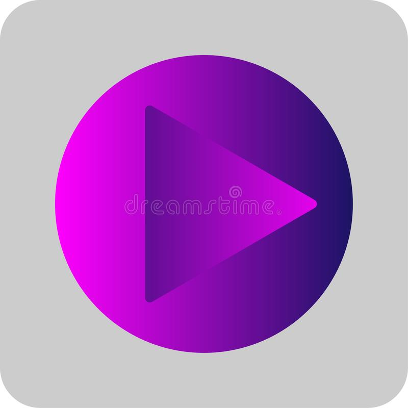 Play button sign colorful purple, pink and blue gradient thin line icon. Flat style on transparent gray background. Eps 10 vector royalty free illustration