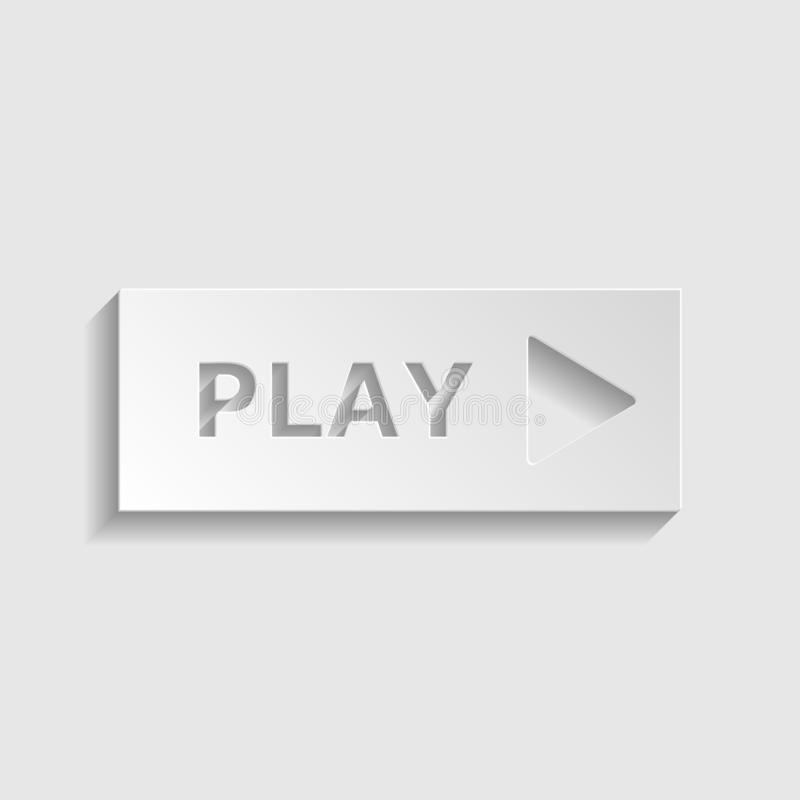 Play button sign. Paper style icon. Illustration. royalty free stock photography
