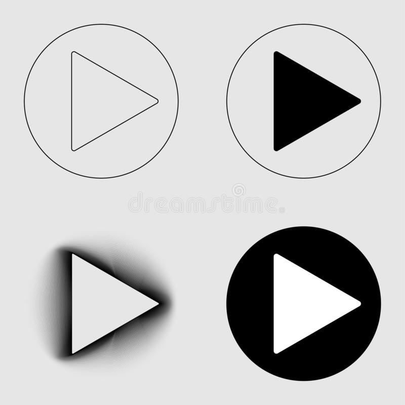 Play button sign thin line and blend icons set. Group object flat style on transparent gray background. Eps 10 vector illustration.  stock illustration