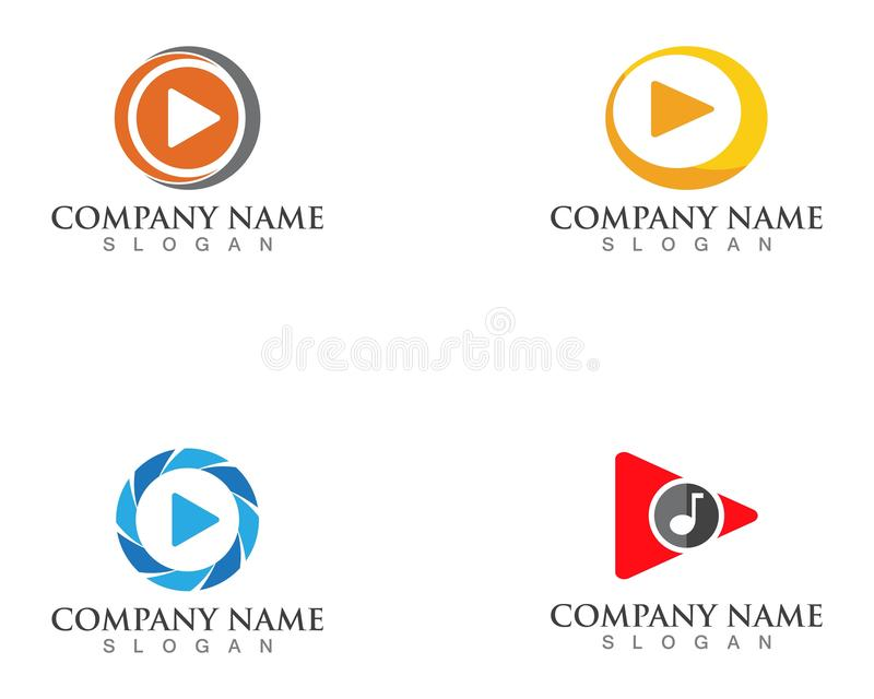 Play button vector logo media player vector. stock illustration