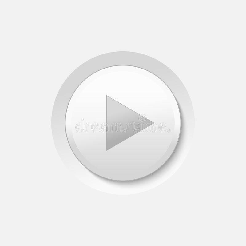 Play Button. Vector White Play Media Button stock illustration