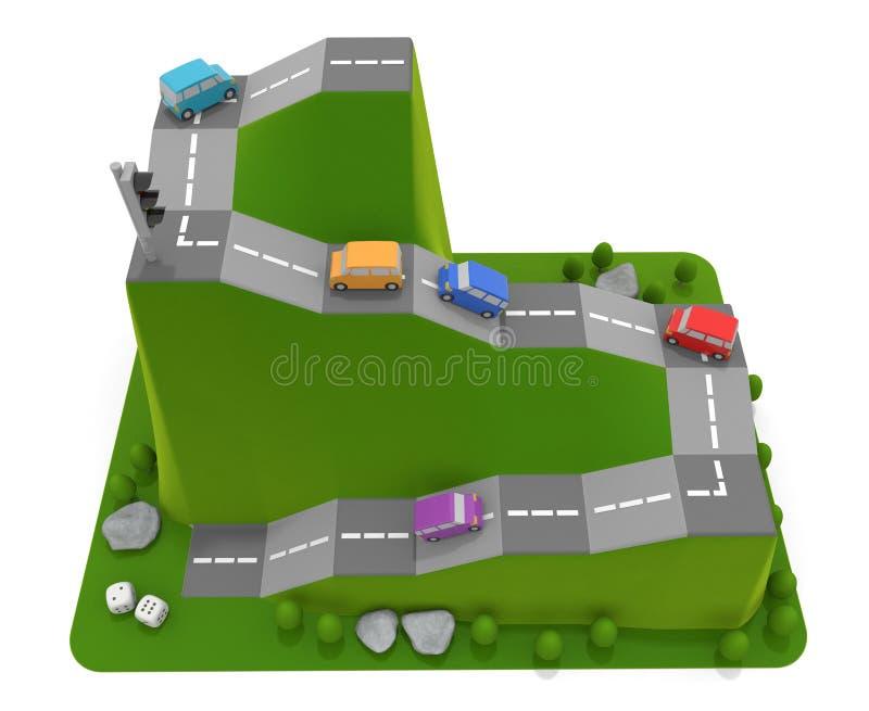 3D illustration. Car racing board game. 5 cars. vector illustration